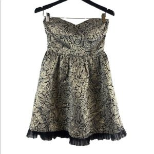 Forever 21 strapless small Petite dress gold